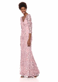 Carmen Marc Valvo Infusion Women's 3Dnovelty Floral V Neck Gown