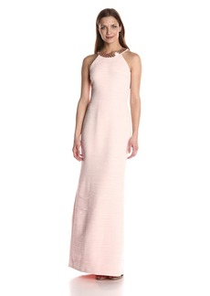 Carmen Marc Valvo Infusion Women's Allover Rouched Beaded Halter Neck Gown