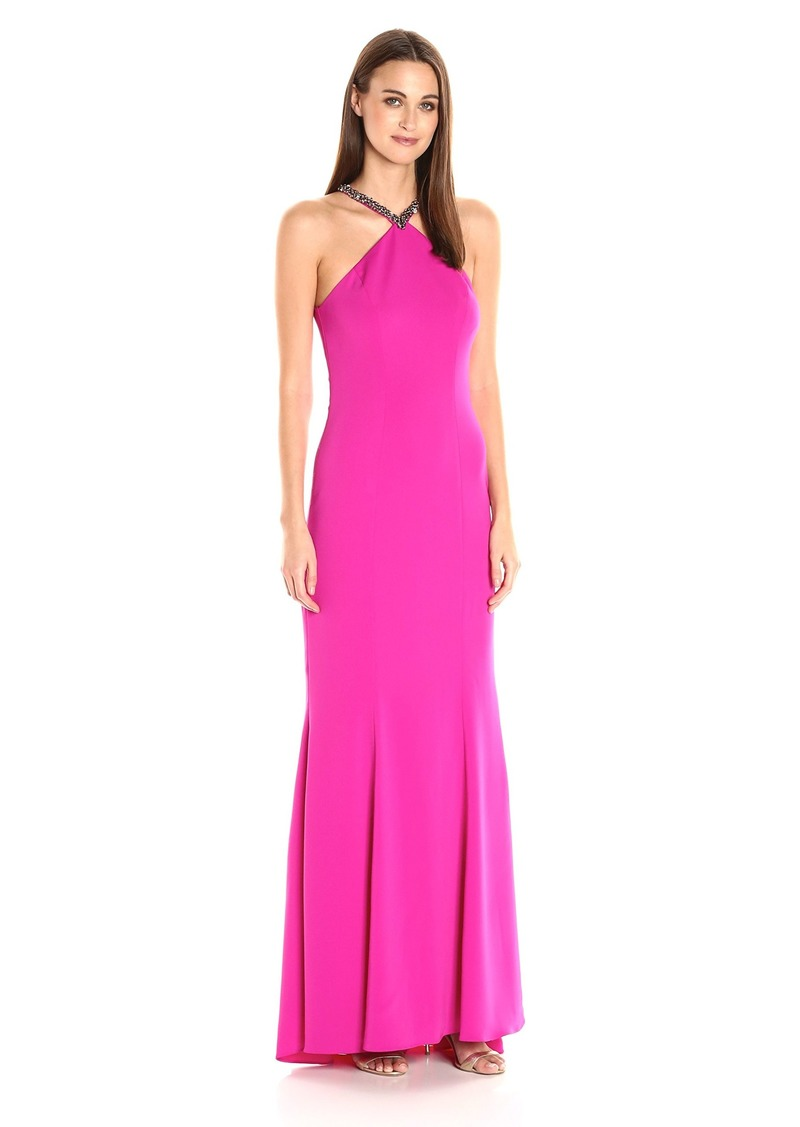 Carmen Marc Valvo Infusion Women's Beaded Halter Gown