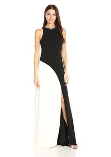 Carmen Marc Valvo Infusion Women's Beaded Jewel Neck Color Block Sleeveless Gown Black/Ivory