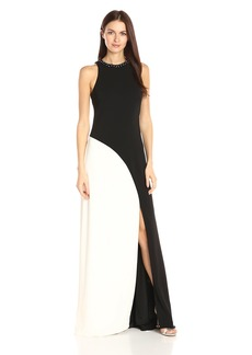 Carmen Marc Valvo Infusion Women's Beaded Jewel Neck Color Block Sleeveless Gown Black/Ivory