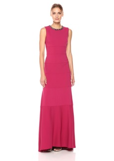 Carmen Marc Valvo Infusion Women's Beaded Neck Gown