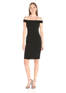 Carmen Marc Valvo Infusion Women's Beaded Off the Shoulder Crepe Cocktail Dress