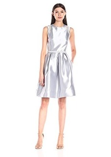 Carmen Marc Valvo Infusion Women's Brocade Party Dress with Metallic Mesh Inserts At Shoulder and Pockets