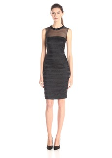 Carmen Marc Valvo Infusion Women's Bugle Bead Jewel Neck Illusion Dress