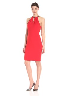 Carmen Marc Valvo Infusion Women's Chunky Beaded Choker Short Crepe Dress