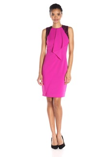 Carmen Marc Valvo Infusion Women's Contrast Beaded Cocktail Dress W/Cascade Ruffle Down Center Front