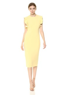 Carmen Marc Valvo Infusion Women's Crepe Cocktail Dress with Short Ruffle Sleeves