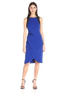 Carmen Marc Valvo Infusion Women's Crepe Cocktail Dress W/Contrast Colored Beads at Shoulder and Waist