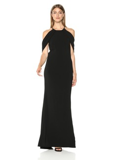 Carmen Marc Valvo Infusion Women's Crepe Gown Plunging Back