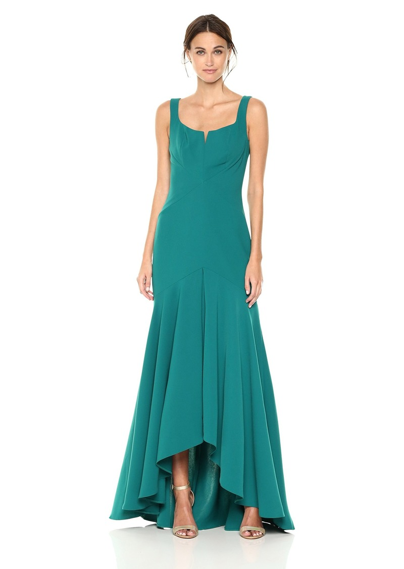 Carmen Marc Valvo Infusion Women's Crepe Gown with Seaming Details and V Cutout Bodice