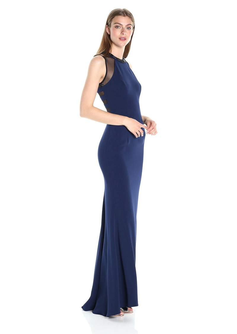 Carmen Marc Valvo Infusion Women's Crepe Halter Gown with Strappy Illusion Back and Beaded Choker