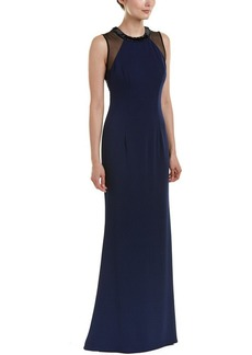 Carmen Marc Valvo Infusion Women's Crepe Halter Gown W/Strappy Illusion Back and Beaded Choker