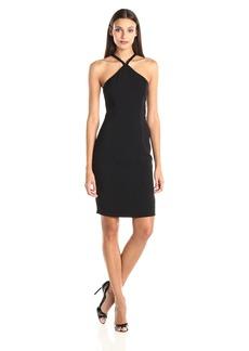 Carmen Marc Valvo Infusion Women's Crepe Short Beaded Halter Dress  4