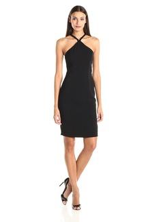 Carmen Marc Valvo Infusion Women's Crepe Short Beaded Halter Dress  8