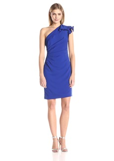 Carmen Marc Valvo Infusion Women's Ruffled One Shoulder Short Crepe Dress