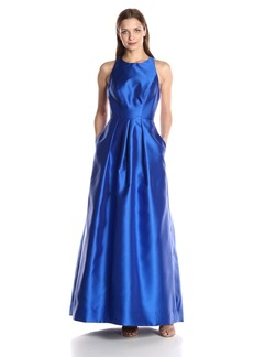 Carmen Marc Valvo Infusion Women's Crew Neck Halter Gown with Open Back Detail