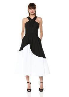 Carmen Marc Valvo Infusion Women's Cross Front Halter Neck Color Block Dress