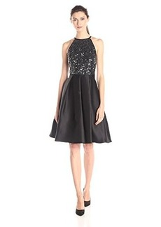 Carmen Marc Valvo Infusion Women's Cutaway Sequin Halter Fit and Flare Dress