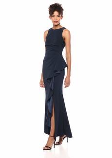 Carmen Marc Valvo Infusion Women's Cutaway Shoulder Crepe Gown