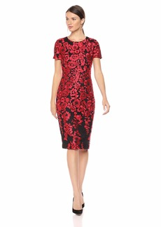 Carmen Marc Valvo Infusion Women's Embroidered Cocktail Dress red/Black