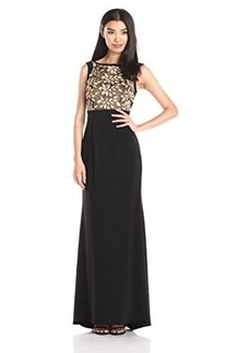 Carmen Marc Valvo Infusion Women's Eyelash Novelty Bodice Gown with Combo Stretch Crepe Long Skirt
