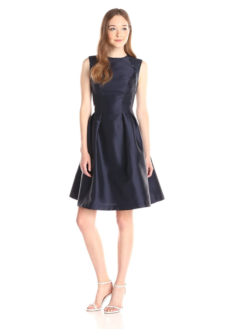 Carmen Marc Valvo Infusion Women's Fitted Waist Dress with Release Pleats