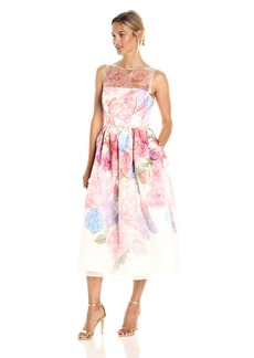 Carmen Marc Valvo Infusion Women's Floral Organza Party Dress with Beaded Belt