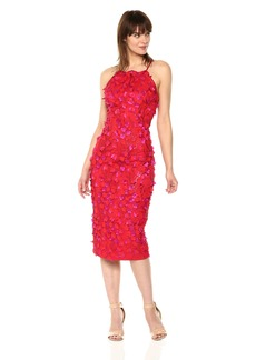Carmen Marc Valvo Infusion Women's Halter Neck Embroidered Novelty Sheath