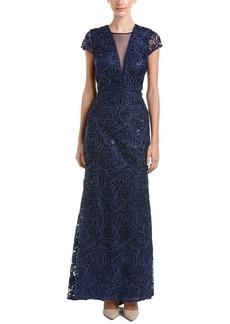 Carmen Marc Valvo Infusion Women's Illusion V Front Soutache and Sequin Gown