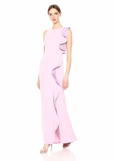 Carmen Marc Valvo Infusion Women's Jewel Neck Crepe Column Gown with Cascade rufffl