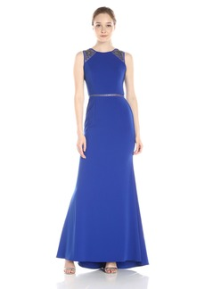 Carmen Marc Valvo Infusion Women's Jewel Neck Gown with Illusion Shoulder