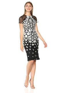 Carmen Marc Valvo Infusion Women's Jewel Neck Novelty Dress