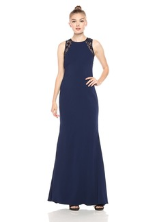 Carmen Marc Valvo Infusion Women's Lace Back and Crepe Gown with Beads