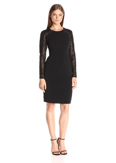 Carmen Marc Valvo Infusion Women's Long Sleeve Cockail Dress With Lace Back