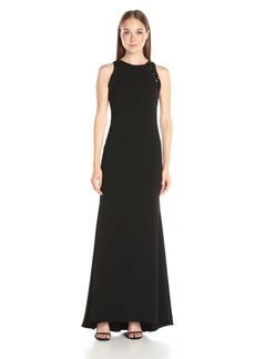 Carmen Marc Valvo Infusion Women's Long Crepe Gown with Sequin Shoulders