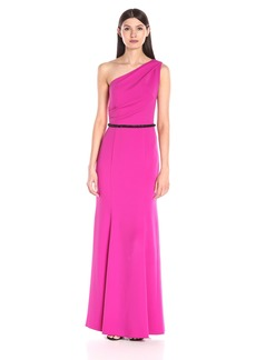 Carmen Marc Valvo Infusion Women's Long Crepe One Shoulder Gown with Blk Beaded Trim at Waist