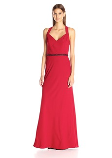 Carmen Marc Valvo Infusion Women's Long Crepe V Neck Gown with Beaded Belt
