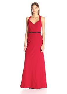 Carmen Marc Valvo Infusion Women's Long Crepe V Neck Gown W/Beaded Belt