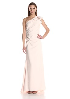 Carmen Marc Valvo Infusion Women's Long One Shoulder Gown w.Ruffle Detail