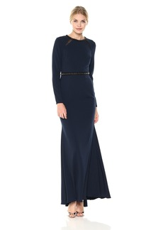 Carmen Marc Valvo Infusion Women's Long Sleeve Gown With Beaded Neck and Waist