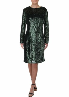 Carmen Marc Valvo Infusion Women's L/s Allover Sequin Sheath Cocktail Dress