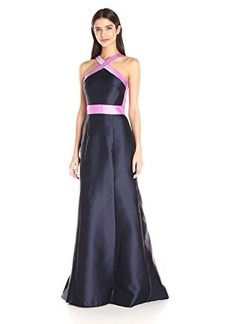 Carmen Marc Valvo Infusion Women's Mikado Color Block Halter Long Gown
