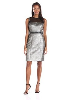 Carmen Marc Valvo Infusion Women's Net Illusion Top with Metallic Brocade Sheath Dress