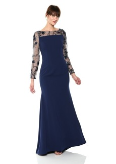 Carmen Marc Valvo Infusion Women's Novelty Illusion Ls and Low Back Crepe Gown
