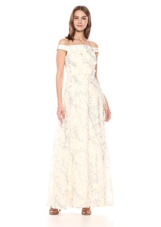 Carmen Marc Valvo Infusion Women's Off The Shoulder Gown w/Novelty 3D Fabric