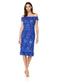 Carmen Marc Valvo Infusion Women's Off The Shoulder Novelty Dress/3D Flowers