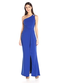 Carmen Marc Valvo Infusion Women's One Crepe Gown with Beaded Trim at Shoulder and Slit