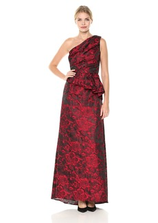 Carmen Marc Valvo Infusion Women's One Shoulder Brocade Gown W/Side Peplum red/Black