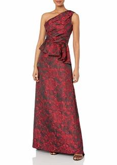 Carmen Marc Valvo Infusion Women's One Shoulder Brocade Gown W/Side Peplum red/Black
